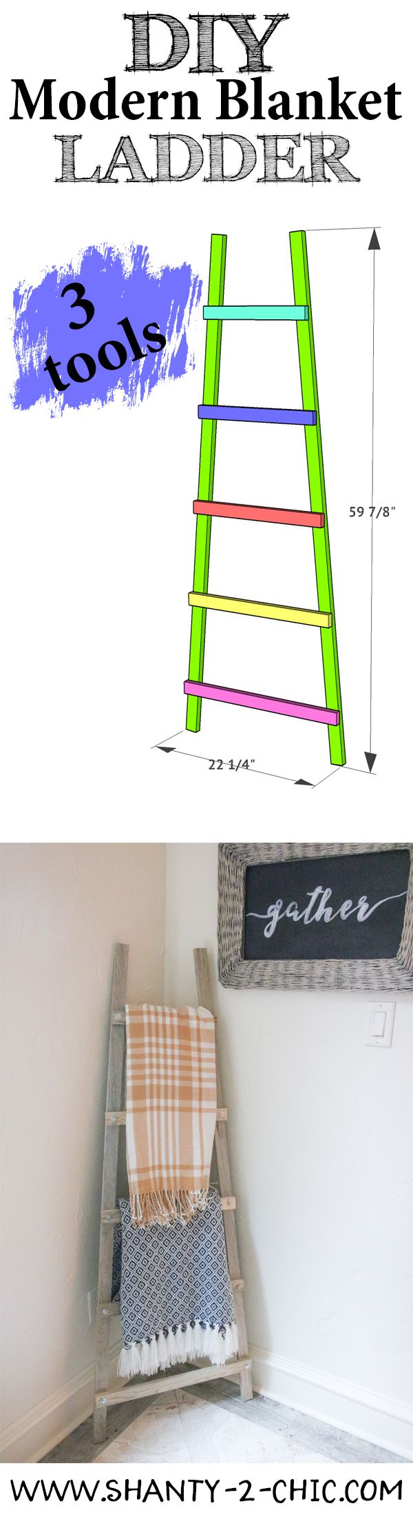 Only 3 tools needed to build this super cute, super functional and super easy DIY Blanket Ladder! Get the free plans and how-to video at www.shanty-2-chic.com