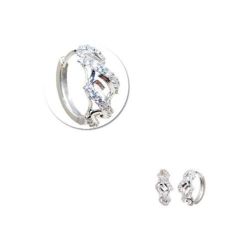 GiveMeGold  14k White Gold, Mini Hoop Huggies Stud Earring Lab Created Gems 11mm Diameter  Price: 	$289.34