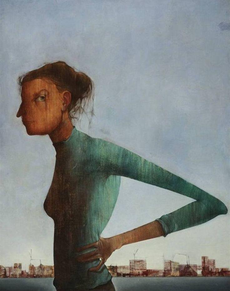 Mikuláš Medek, Žena a město (Portrét 53), 1953, olejová tempera, plátno, 117 × 95 cm, Česká pojišťovna a.s.