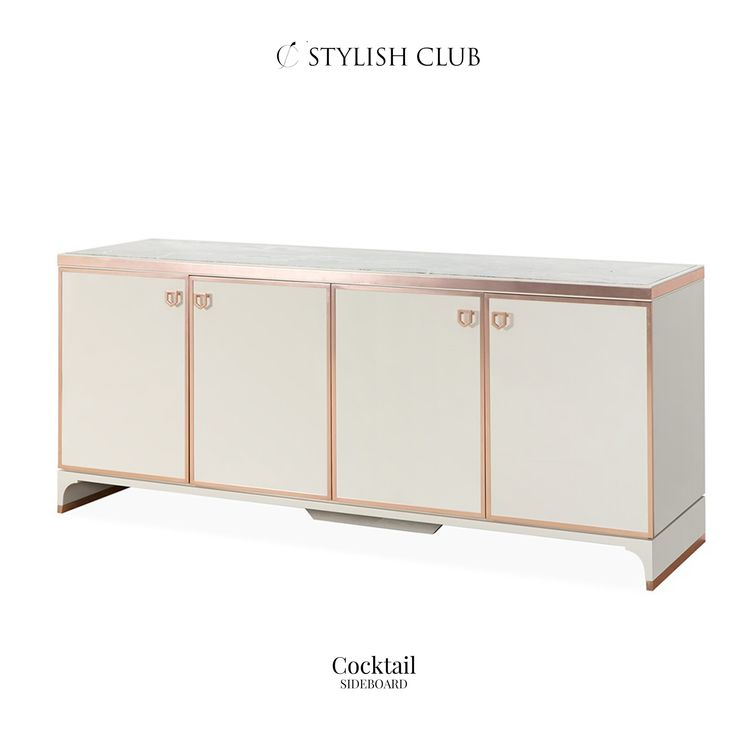 Sideboard in high gloss lacquered, with four doors, one upholstered interior drawer, two bronze glass shelves, top in Dark Emperador, handles and details on top and feet in the polished copper finish.