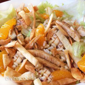 Para hacer esta ensalada oriental estilo VIPS he usado una vinagreta agridulce de naranja que ha resultado muy rica para el plato. Si quieres puedes añadir también a la vinagreta unas semillas de sésamo.