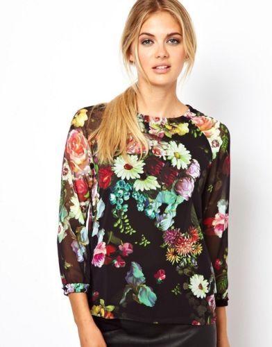 New Fashion Floral Print Sheer Chiffon Shirt Blouse O Neck 3 4 Sleeve Women Tops | eBay