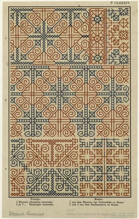 """Mordvinian peasant embroidery, from """"Mordvalaisten pukuja ja kuoseja = Trachten und Muster der Mordvinen."""""""
