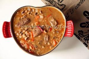 Beef stew with beans.  Говядина тушеная с фасолью