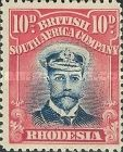 British South Africa Company, 1.9.1913, King George V., No.134, 10P red/dark blue. Stamped 32,92 USD. Unused 8,78 USD.