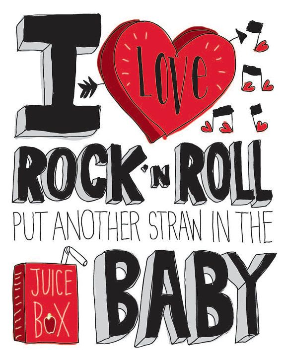 I Love Rock 'N Roll Hand drawn Type 11 x 17 Print Kids by ecdesign, $25.00
