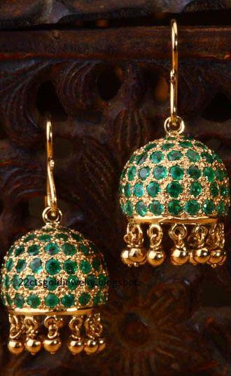 Gold Jewellery Designs: Diamond Necklace and Jumka