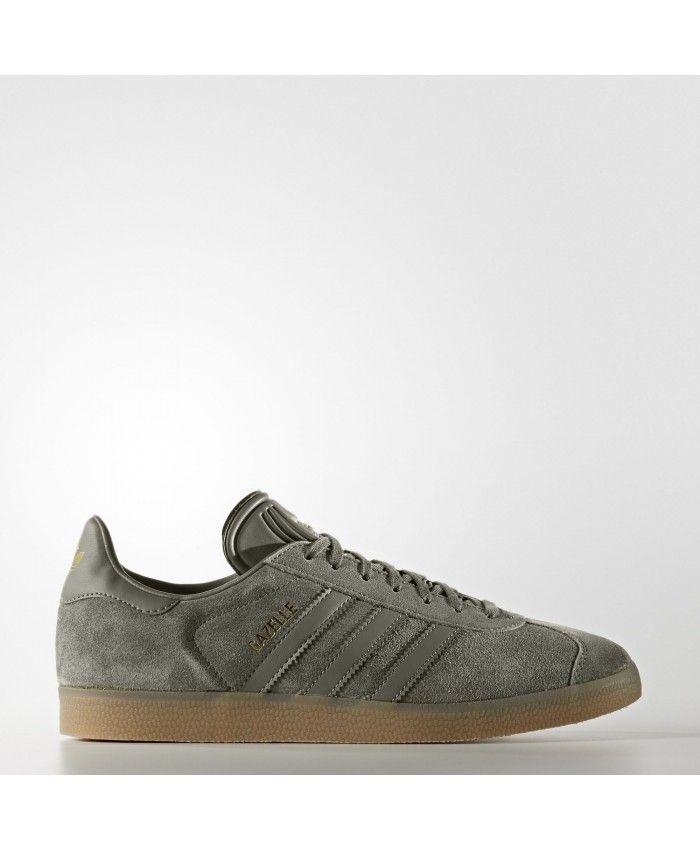 Mens Adidas Gazelle Dark Grey Brown Trainer