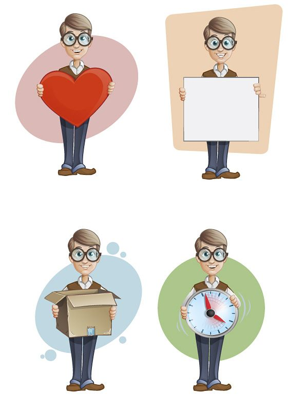 Free geek vector character set designed in 4 different styles.