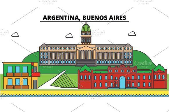 Argentina Buenos Aires Outline City Skyline Linear Illustration Banner Travel Landmark Buildings Silhouette Vector Building Silhouette City Skyline Silhouette Architecture