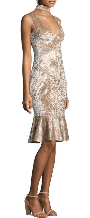 """velvet choker dress by LIKELY. Crushed velvet dress with fluted hem. Scoop neck with choker. Sleeveless. Concealed back zip. About 45"""" from shoulder to hem. Polyester/spandex. Dry clean. Imported. Model shown is 5'10"""" (177cm) wearing US size 4. #likely #dresses"""