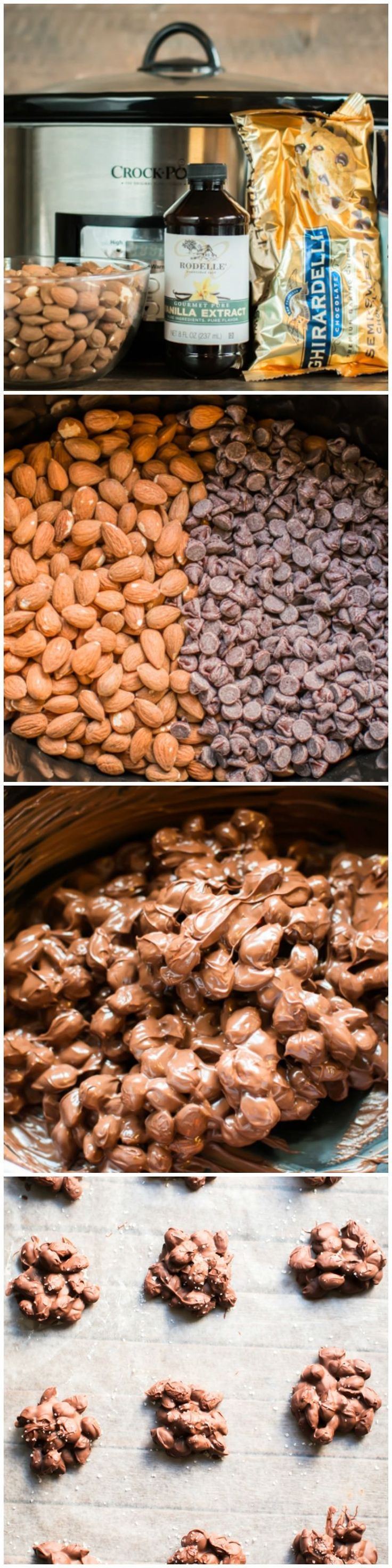 Slow Cooker Sea Salt Chocolate Almond Clusters. So pretty on the Christmas cookie trays!