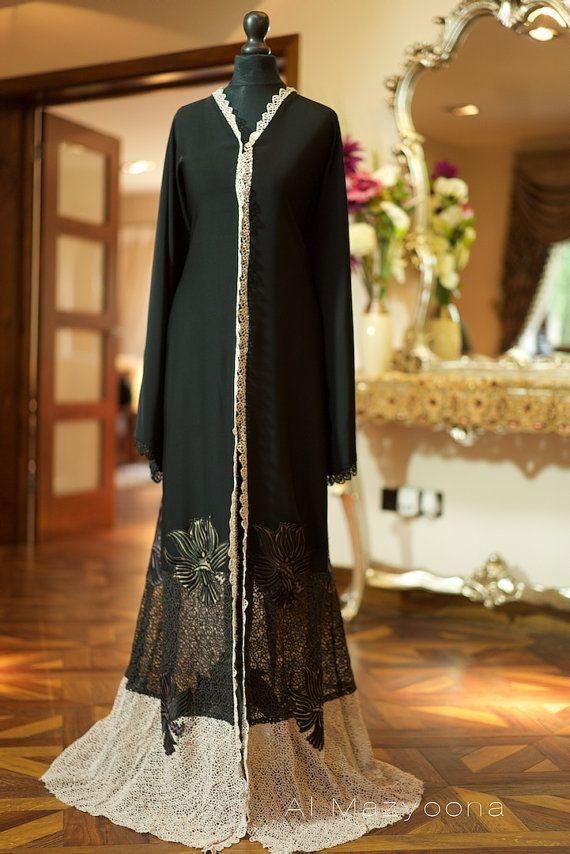 Al Mazyoona Black Embroidered Party Wedding Bisht Abaya Dubai Arabic Jalabiya Khaleeji Kaftan Maxi
