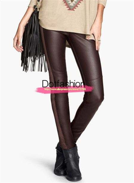 Women's Fashion Brand New Desigual Hot Sale Sexy Brown Patterned High Waist Slim Elastic PU Leather Leggings. #leggings