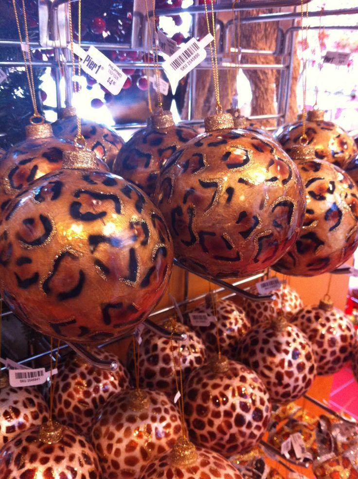 Beautiful leopard print Christmas ornaments.