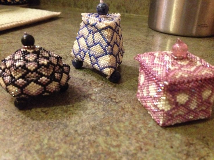 Beaded boxes. Made with Delica beads.