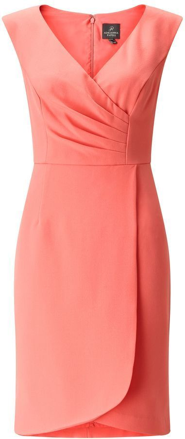 Adrianna Papell Layered V Neck Tailored Dress.