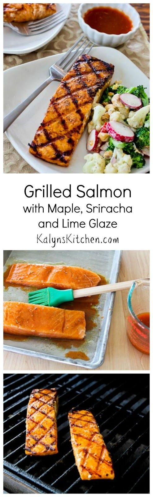Grilled Salmon Recipe with Maple-Sriracha-Lime Glaze [from KalynsKitchen.com]