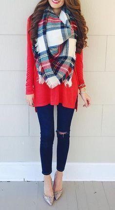 #winter #fashion / red knit + tartan scarf