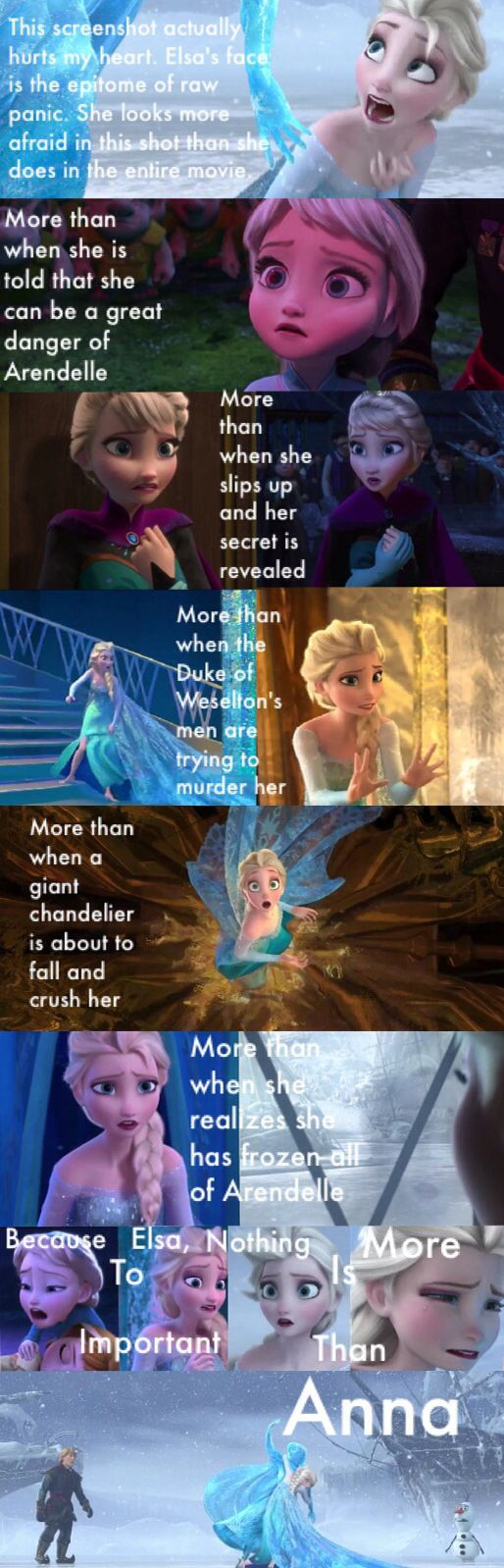 Because to Elsa, nothing is more important than Anna... The feels! →even though I think she was more scared the first time she struck her