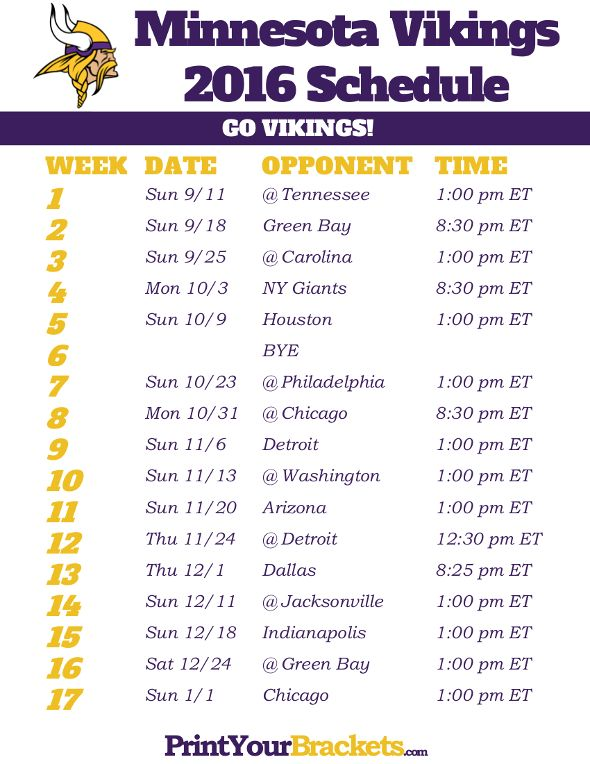 Minnesota Vikings Schedule - 2016