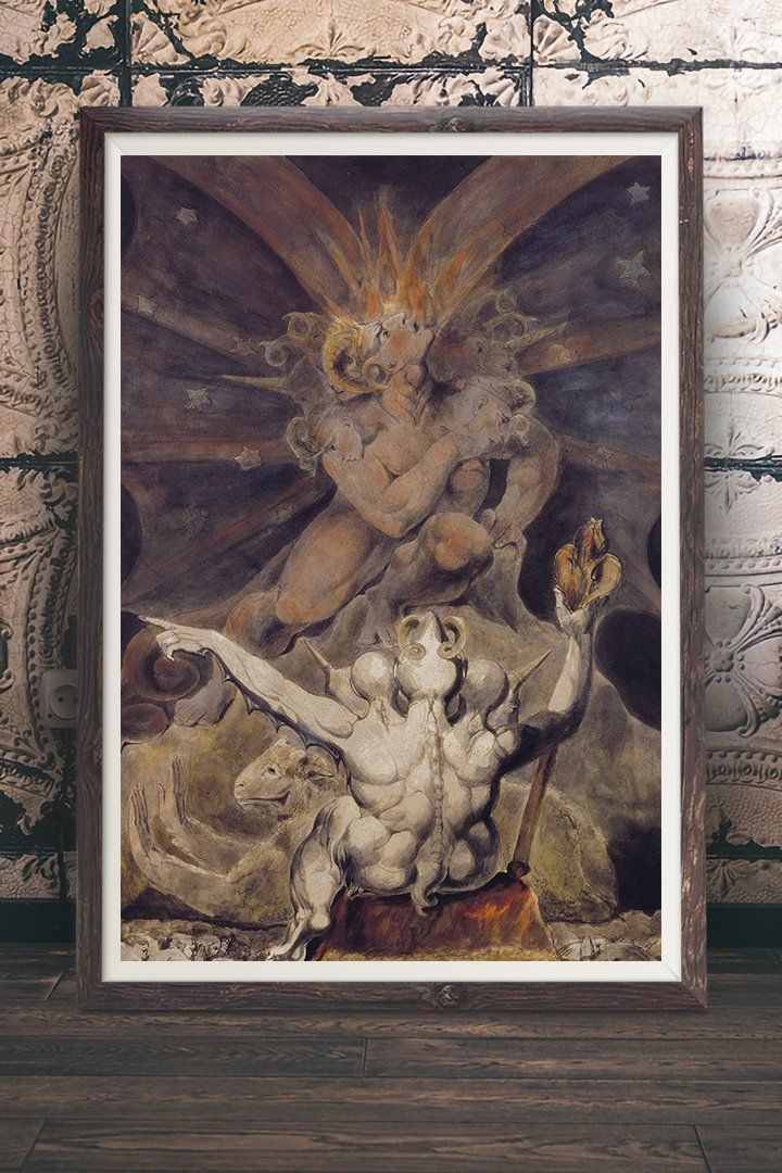 The Number Of The Beast Is 666 Painting By William Blake Vintage Wall Art Print At Retrograde Ink We Make Our Vintage Art William Blake Art Wall Art Prints