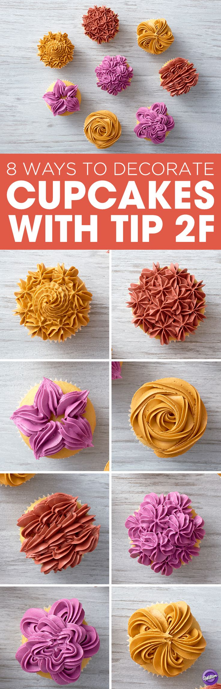Learn 8 ways to decorate cupcakes using Wilton drop flower decorating tip 2F!