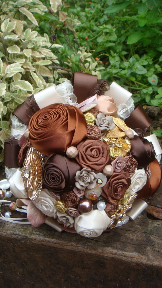 Chocolate Truffle Fabric & Button Bouquet