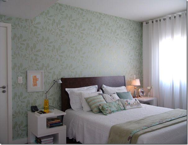 papel de parede para quarto de casal : papel de parede decora??o verde florido Wall paper ...