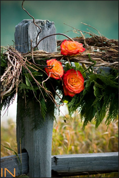 Rose wrapped fence at Ski Tip Lodge, Keystone Resort, CO. www.keystoneweddings.com