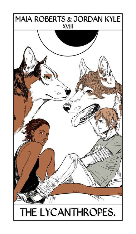 Maia Roberts & Jordan Kyle take the moon card in Shadowhunter Tarot by Cassandra Jean.