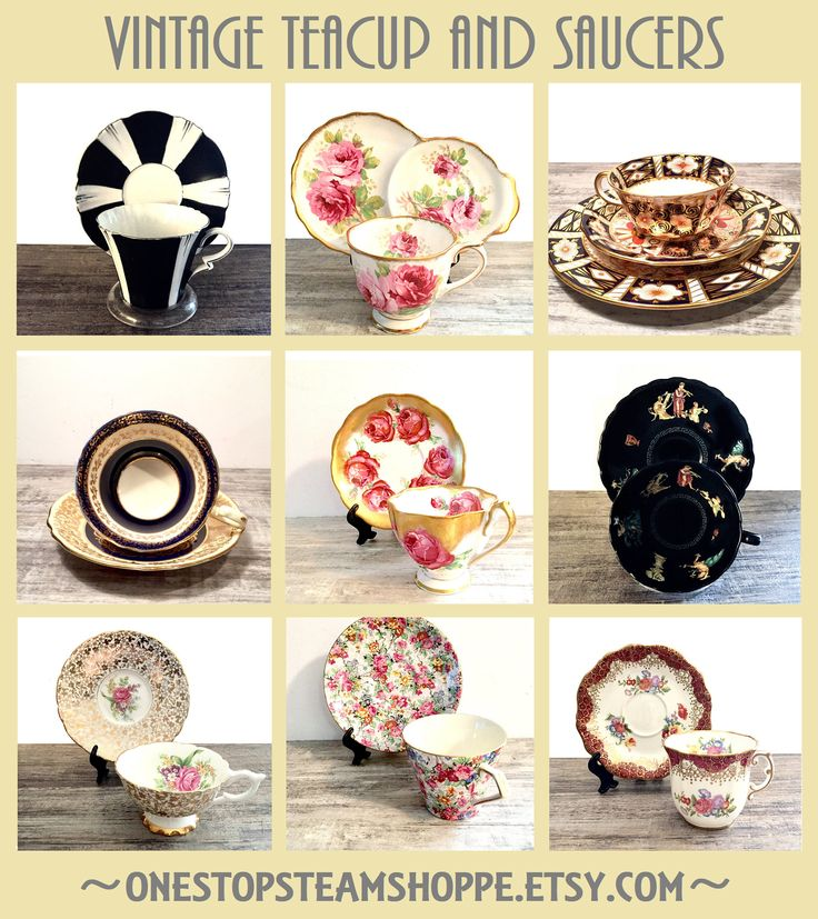 Vintage and Antique Teacup and saucers from OneStopSteamShoppe #Vintage #Teacups #Antiques #BoneChina #OneStopSteamShoppe