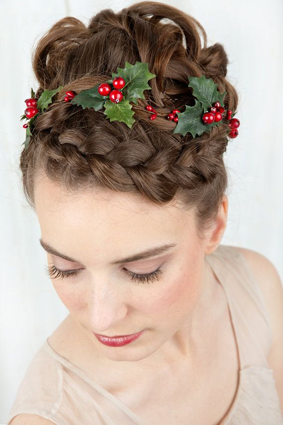 Holiday holly hair accessory for christmas by The Honeycomb - www.thehoneycomb.etsy.com. Custom couture-quality hair adornments.