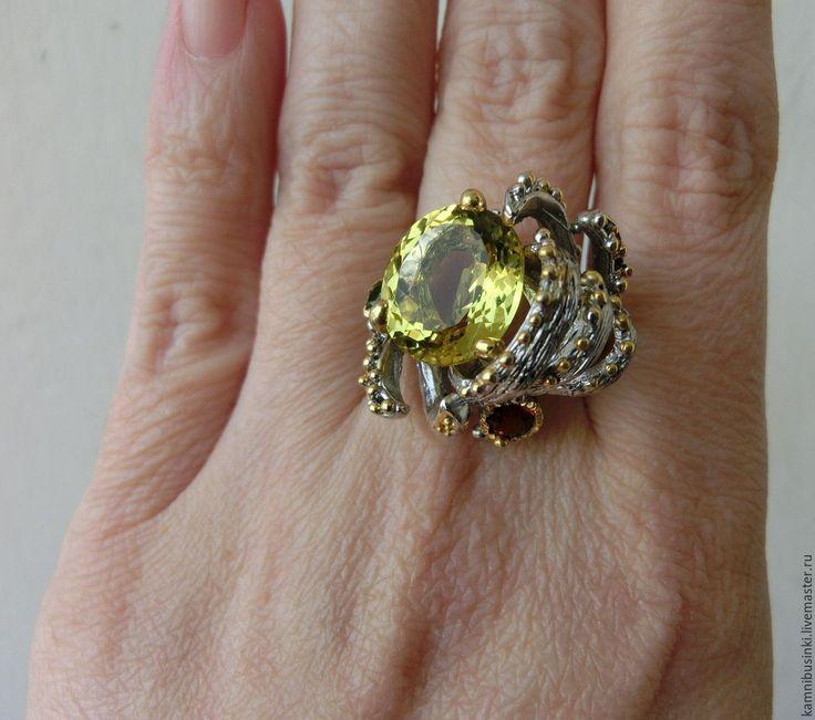 Купить 17,5 р-р Кольцо лимонный кварц гранат серебро 925 пробы золото