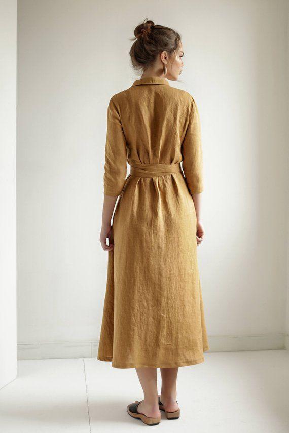 b101521360 Mustard Linen Wrap DressLinen Dress Shawl Collar Linen