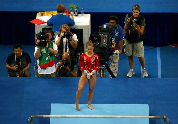 Shawn Johnson of the United States gets set to compete on the uneven bars in the team final event at the National Indoor Stadium during Day 5 of the Beijing 2008 Olympic Games on August 13, 2008 in Beijing, China.