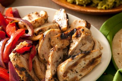 ... chicken breast, salt, black pepper, tortillas, bell pepper, red onion