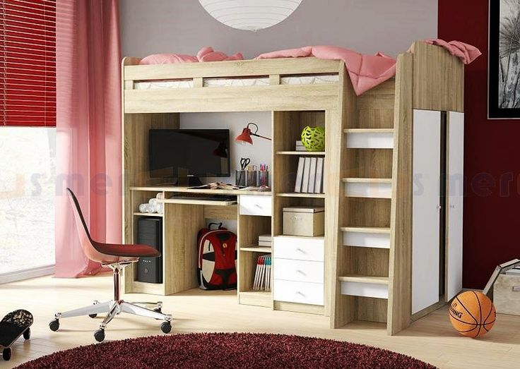 Brand New Kids Children Bunk Bed Cabin Bed with Wardrobe and Computer Desk UNIT | eBay