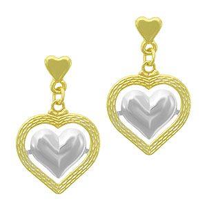 Brinco folheado a ouro em forma de coração vazado c/ aplique prateado - Imagem Folheados