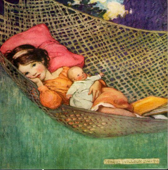 """Illustration by Jessie Willcox Smith- """"Girl with Doll in Hammock"""""""