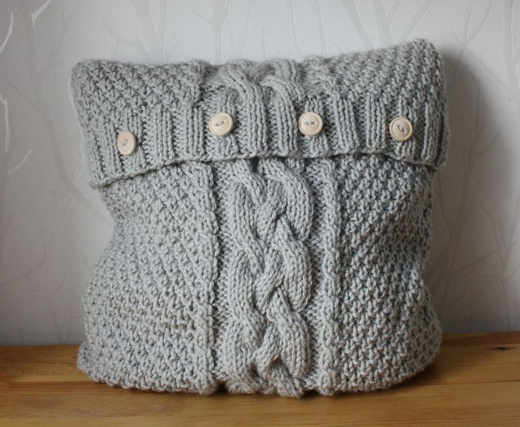 Hand knitted pillow cover grey knitted cushion Cable knit Sweater pillow