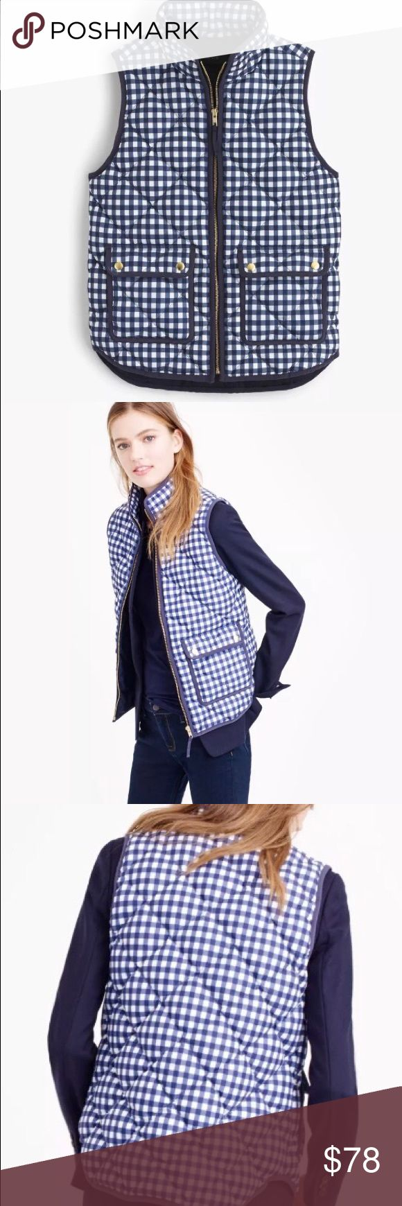 "J Crew Petite Sz L Excursion Gingham Puffer Vest J Crew Petite Excursion Gingham Vest  NWT  THIS VEST IS NOT FROM J CREW FACTORY  Navy Ivory Multi  MSRP $138  'Lightweight down vest that's compact and easy to layer but still  warm enough to keep chilly weather at bay.   Classic fit - not too loose and not too tight. Hits at hip. Body length = 22-7/8""  Down filled poly Standing collar Snap front with hidden zip closure Pockets Lined   SIZE: PL  J Crew Body Measurements for Size PL  Bust = 38""…"
