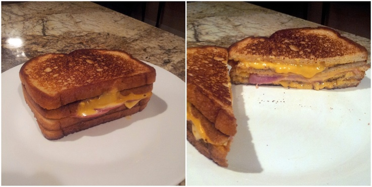 Monster Grilled Cheese! Four pieces of bread, 8 slices of cheese, and ...