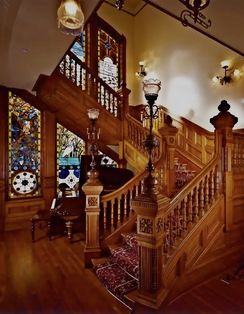 From The Victorian Elijah Thomas Webb Home here is a pic of the Grand Staircase of the Eugene Britt home aka Britt Scripps Inn in San Diego California.