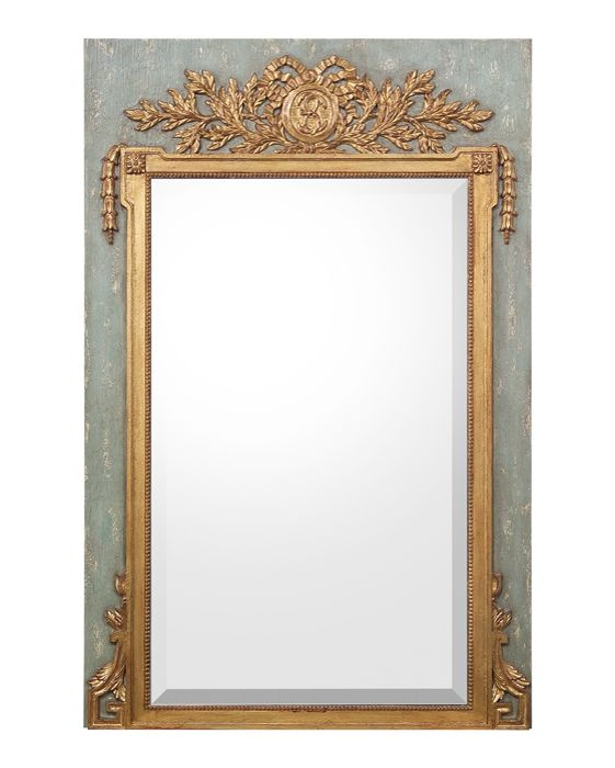 38Wx58Hx2D Orleans Mirror. Set on a French blue back board, the frame and head of this mirror is carved and gilded which encloses the beveled edge modern mirror.