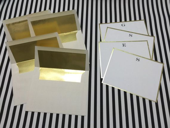 Gold Foil Lined Stationery Flats With Matching Envelopes In An Ivory Color