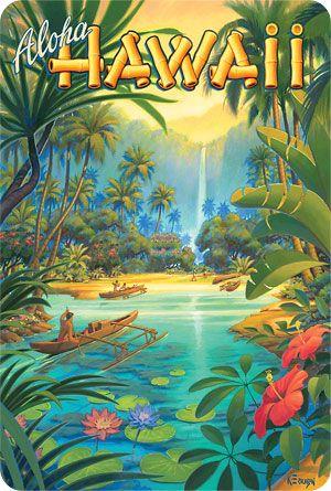 Hawaiian Vintage Postcard - Visit Hawaii - Kerne Erickson