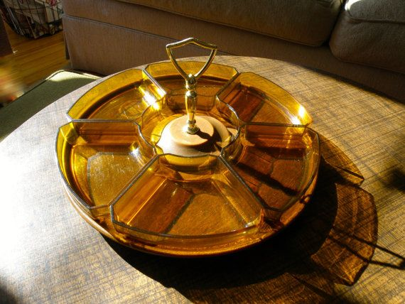 Thermo Serv Westwood Party Server Lazy Susan with 6 removable amber plastic trays on Etsy, $20.00