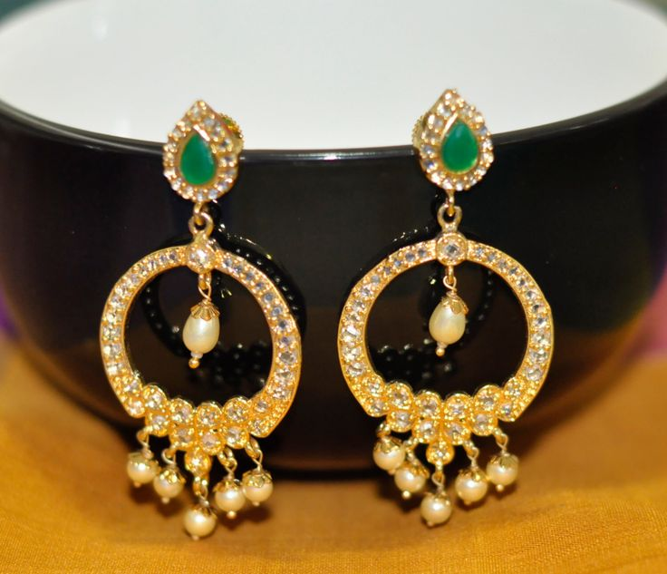 DISCOUNT One Gram Gold Earrings Chandbalis Emerald White CZ stones South Sea Pearls Indian Jewelry Chandeliers Bridal Bollywood Jewelry by LaxmiFashions on Etsy https://www.etsy.com/listing/244534029/discount-one-gram-gold-earrings