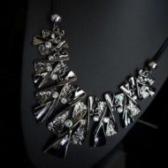 Necklace Twisted Blades and Rhinestones